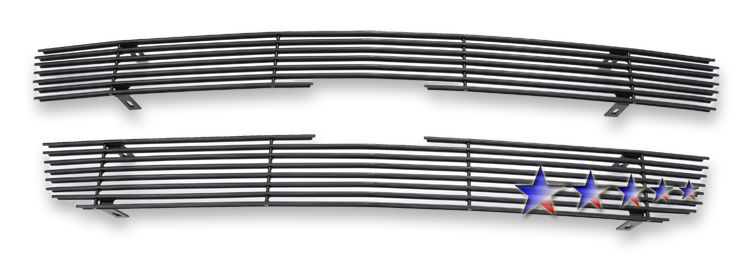Chevrolet Silverado 3500 2001-2002 Black Powder Coated Main Upper Black Aluminum Billet Grille