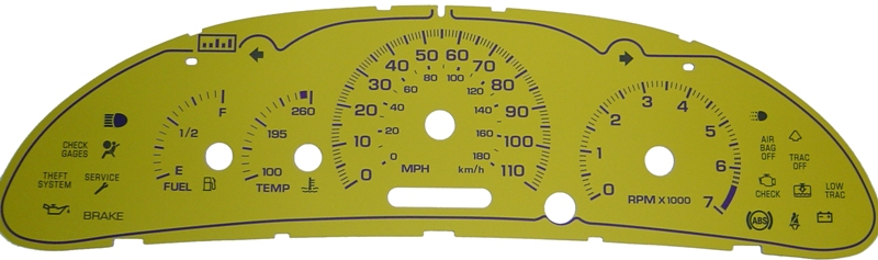 Chevrolet Cavalier 2001-2004 With Tach Only Yellow / Purple Night Performance Dash Gauges