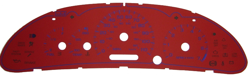 Chevrolet Cavalier 2001-2004 With Tach Only Red / Blue Night Performance Dash Gauges