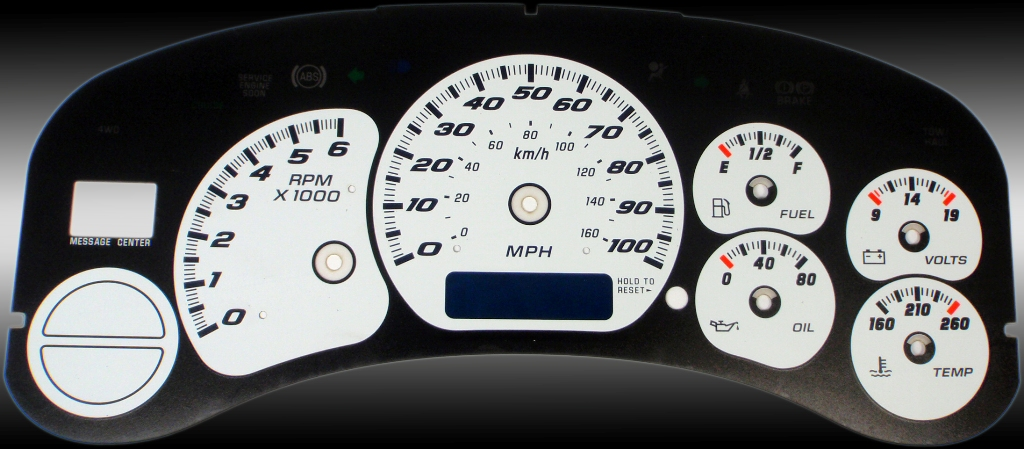 Gmc Sierra 1999-2002  White / Blue Night Performance Dash Gauges