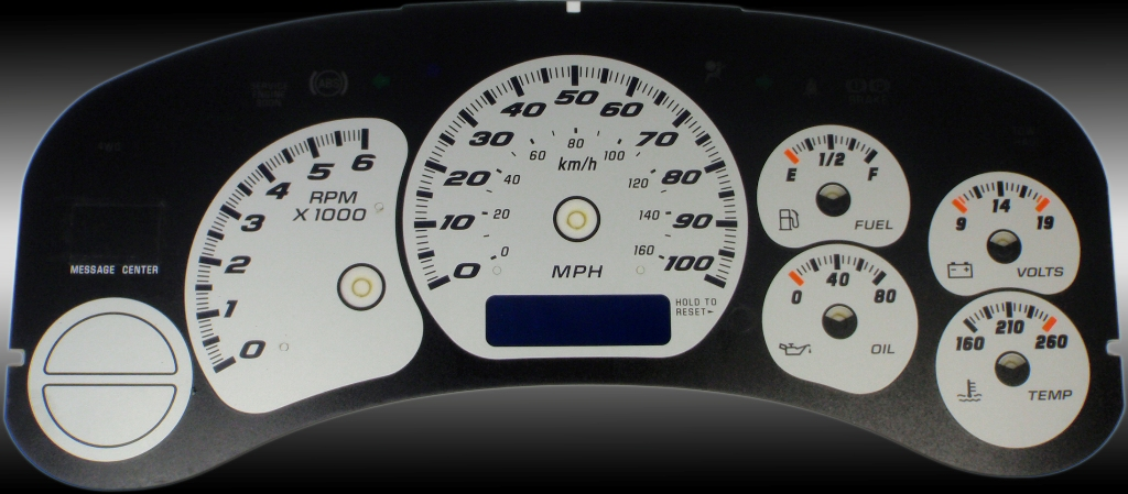 Gmc Sierra 1999-2002  Silver / Blue Night Performance Dash Gauges