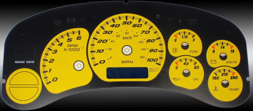 Gmc Sierra 1999-2002  Yellow / Blue Night Performance Dash Gauges