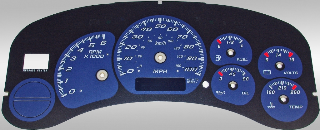 Chevrolet Silverado 1999-2002  Blue / Blue Night Performance Dash Gauges