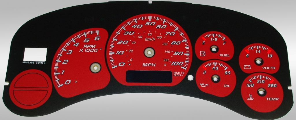 Gmc Sierra 1999-2002  Red / Blue Night Performance Dash Gauges