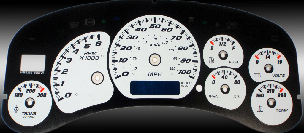 Gmc Sierra 1999-2002 Hd White / Blue Night Performance Dash Gauges