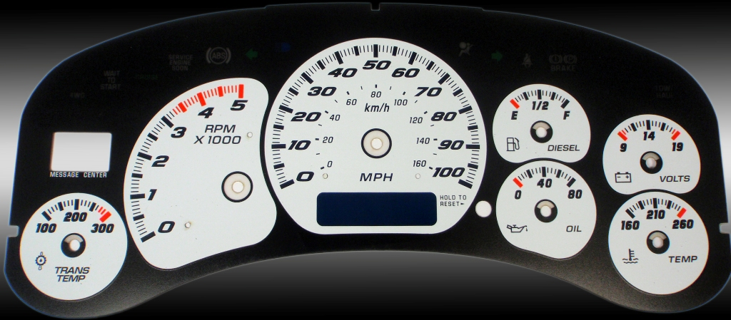 Chevrolet Silverado 1999-2002 Hd White / Blue Night Performance Dash Gauges
