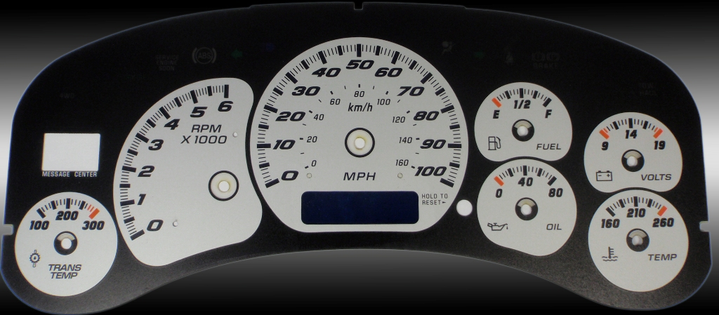Gmc Sierra 1999-2002 Hd Silver / Blue Night Performance Dash Gauges