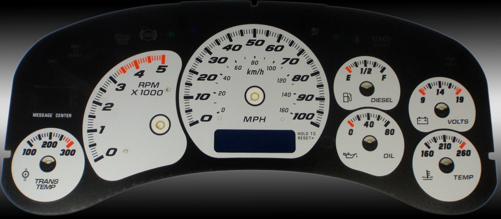 Chevrolet Silverado 1999-2002 Hd Silver / Blue Night Performance Dash Gauges
