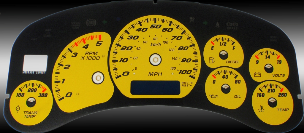 Chevrolet Silverado 1999-2002 Hd Yellow / Blue Night Performance Dash Gauges