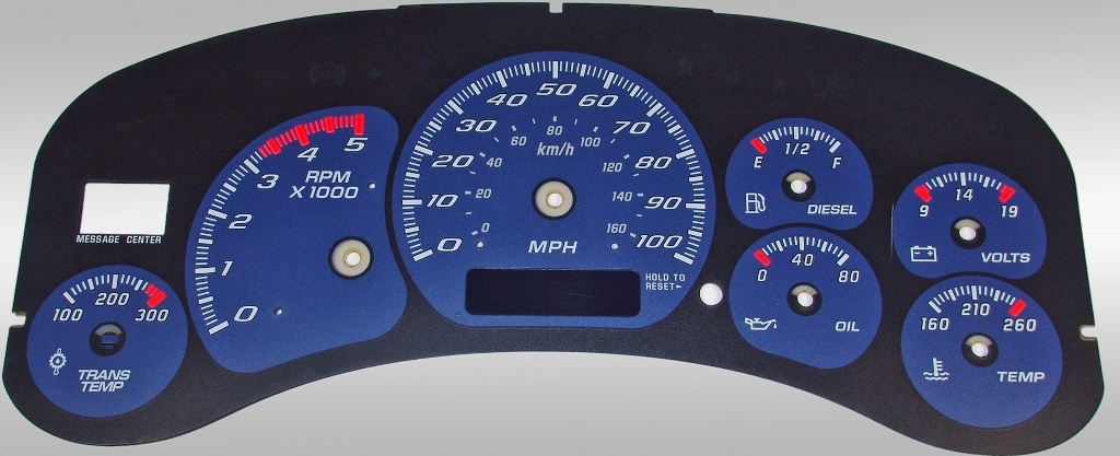 Chevrolet Silverado 1999-2002 Hd Blue / Blue Night Performance Dash Gauges