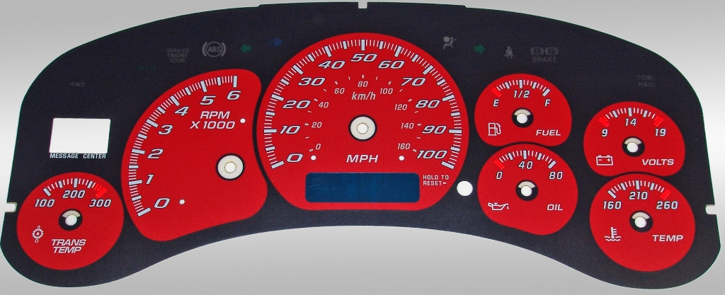 Gmc Sierra 1999-2002 Hd Red / Blue Night Performance Dash Gauges
