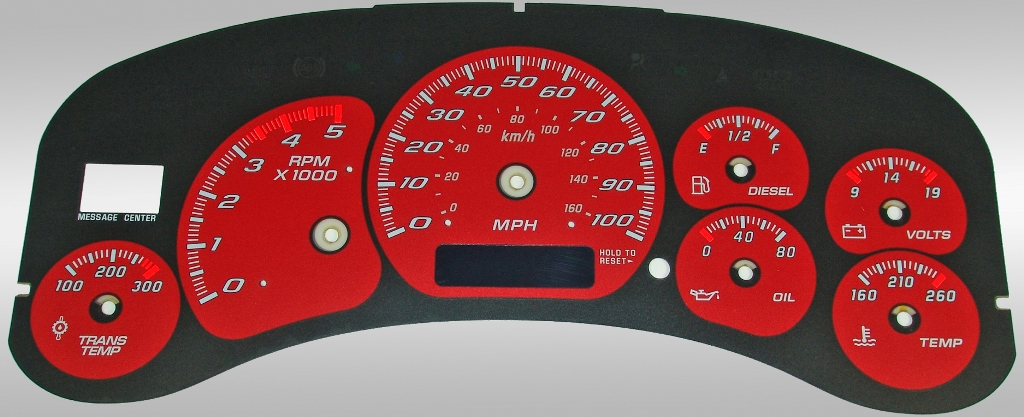 Chevrolet Silverado 1999-2002 Hd Red / Blue Night Performance Dash Gauges