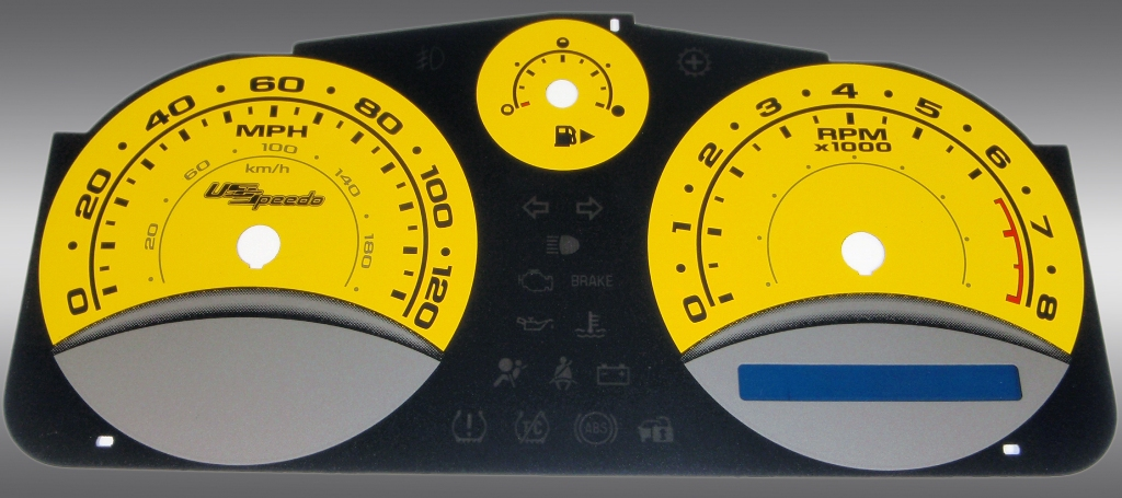 Chevrolet Cobalt 2005-2009 Base And Ls Yellow / Blue Night Performance Dash Gauges