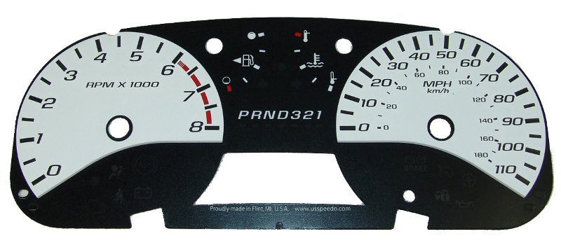 Chevrolet Colorado 2004-2009  White / White Night Performance Dash Gauges