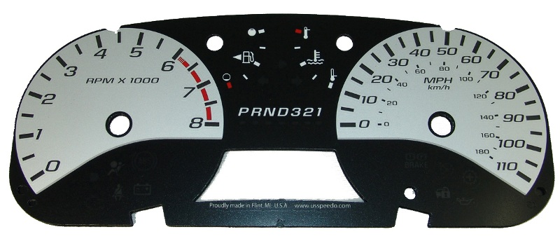 Chevrolet Colorado 2004-2009  Silver / White Night Performance Dash Gauges