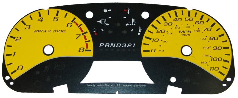 Chevrolet Colorado 2004-2009  Yellow / White Night Performance Dash Gauges