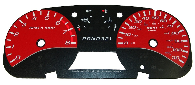 Gmc Canyon 2004-2009  Red / White Night Performance Dash Gauges