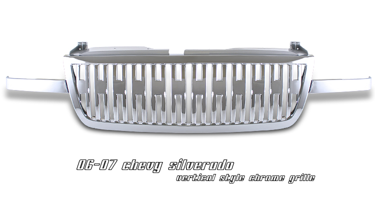 Chevrolet Silverado 2006-2007  Vertical Style Chrome Front Grill