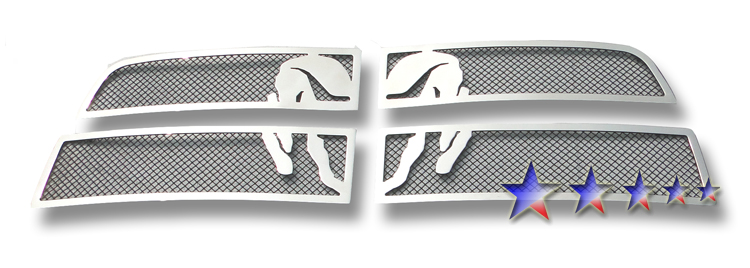 Dodge Ram 3500 2010-2012 Polished And Black Powder Coated Main Upper Symbolic Grille