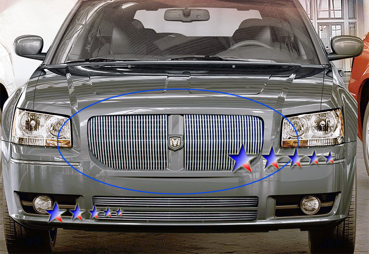 Dodge Magnum  2005-2007 Polished Main Upper Stainless Steel Billet Grille