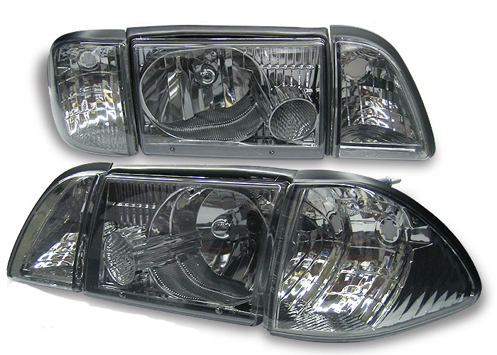 Ford Mustang 87-93 3 Peice Smoked Euro Crystal Headlights
