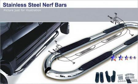 "2005-2011 Dodge Dakota  Quad Cab 3"" Round Polished Nerf Bars"
