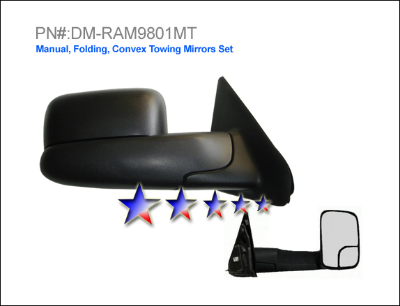 Dodge Ram 1998-2001 1500 Manual/Towing Left Side Towing Mirror