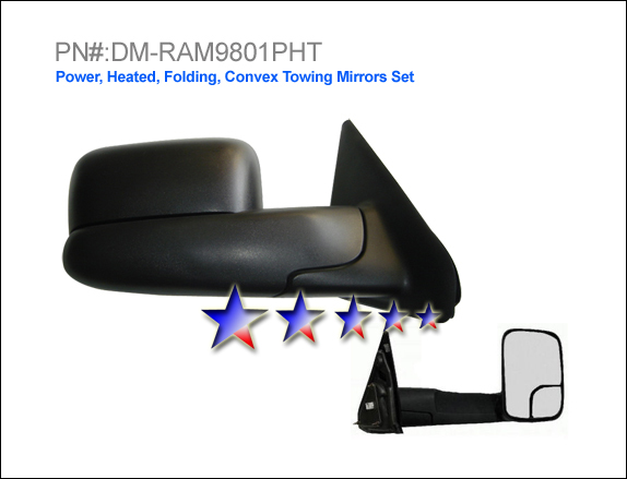Dodge Ram 1998-2002 2500, 3500 Power/Heated/Towing Left Side Towing Mirror