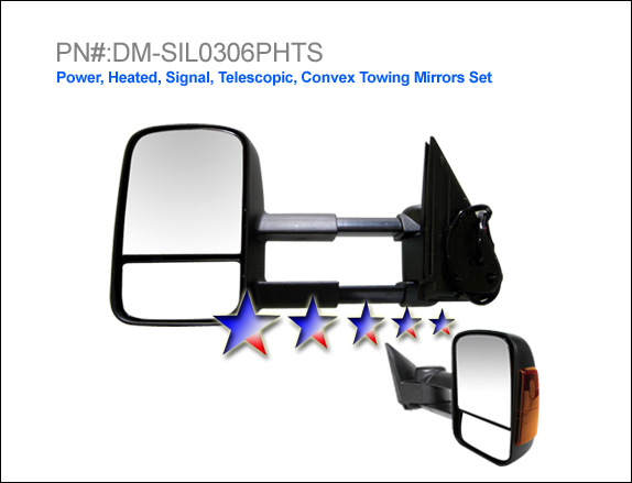 Chevrolet Silverado 2003-2006  Power/Heated/Towing/Signal Extended Left Side Towing Mirror
