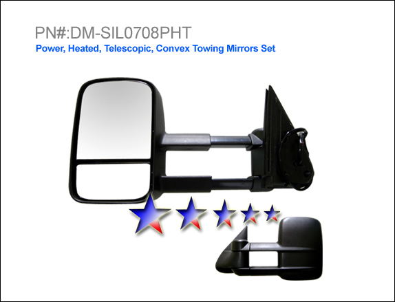 Gmc Sierra 2007-2008  Power/Heated/Towing Extended Left Side Towing Mirror