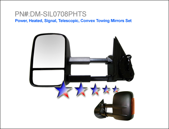 Gmc Sierra 2007-2008  Power/Heated/Towing/Signal Extended Left Side Towing Mirror