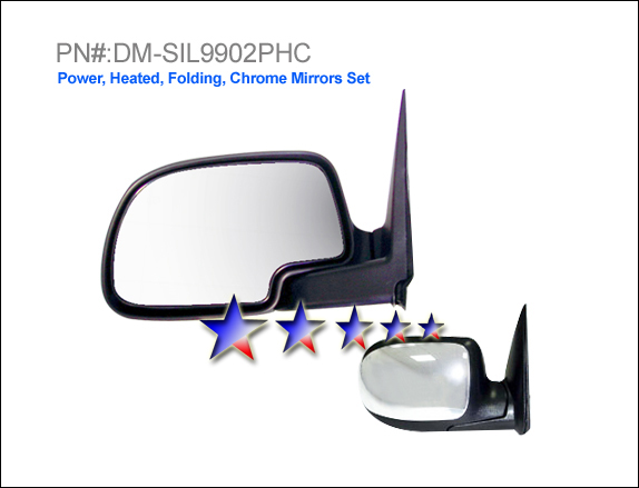 Chevrolet Silverado 1999-2002  Power/Heated/Chrome Left Side Towing Mirror