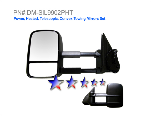 Gmc Sierra 1999-2002  Power/Heated/Towing Extended Left Side Towing Mirror