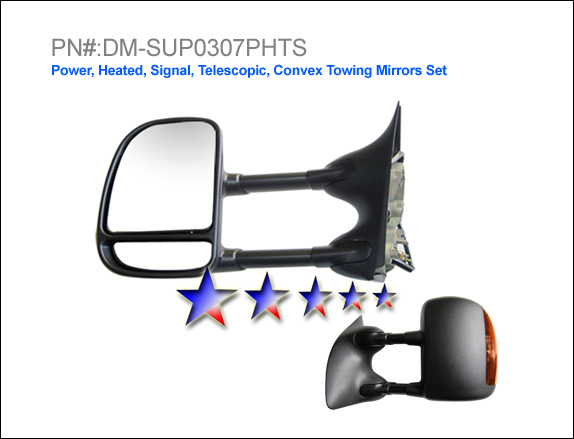 Ford Super Duty 2003-2007 F-250 Power/Heated/Towing/Signal Textured Dual Swing Square Plug Left Side Towing Mirror