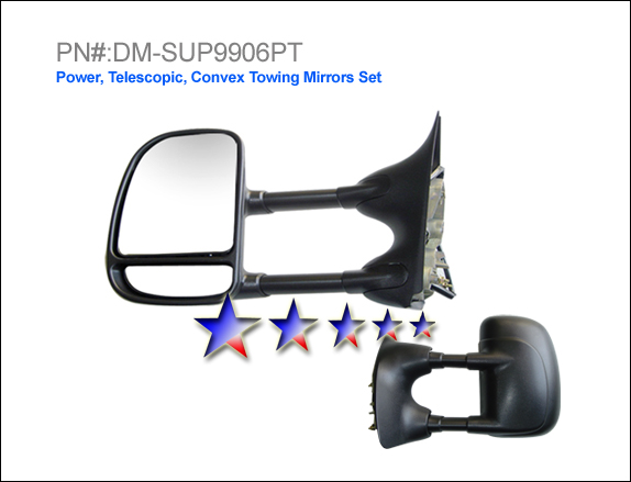 Ford Super Duty 1999-2004 F-250 Power/Towing Single Swing Round Plug Right Side Towing Mirror