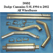 Dodge 5.9L Cummins 94-02 Full Boar 4 inch Single Outlet Diesel Exhaust Systems
