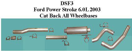 Ford 6.0L 03-04 Full Boar 4 inch Single Outlet Diesel Cat-Back Systems