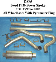 Ford F450 7.3L Powerstroke 99-03 Full Boar 4 inch Diesel Exhaust Systems