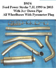 Ford 7.3L Powerstroke (3.5 inch down pipe) 99-02 Full Boar 4 inch Diesel Exhaust Systems