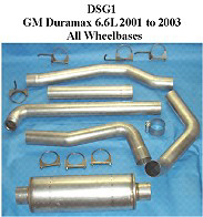 Chevy Silverado GMC Sierra 6.6L DuraMax 01-04 Full Boar 4 inch Single Outlet Diesel Exhaust Systems