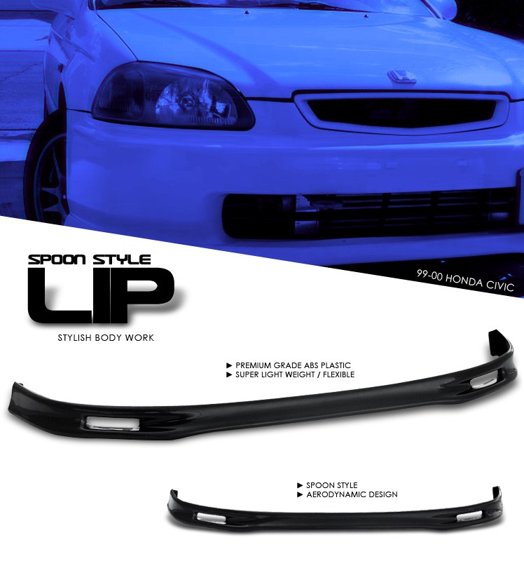 Honda Civic 1999-2000   Front Spoon Style Lip Bumper Lip