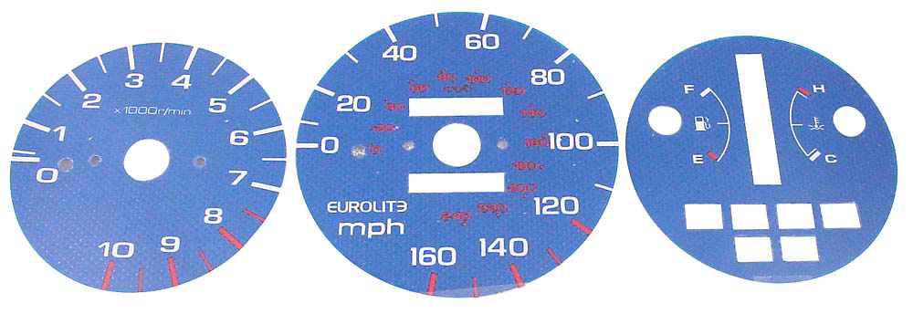 Ford Mustang V6 94-98 Eurolite Luminescent Carbon-Look Gauge (Automatic)