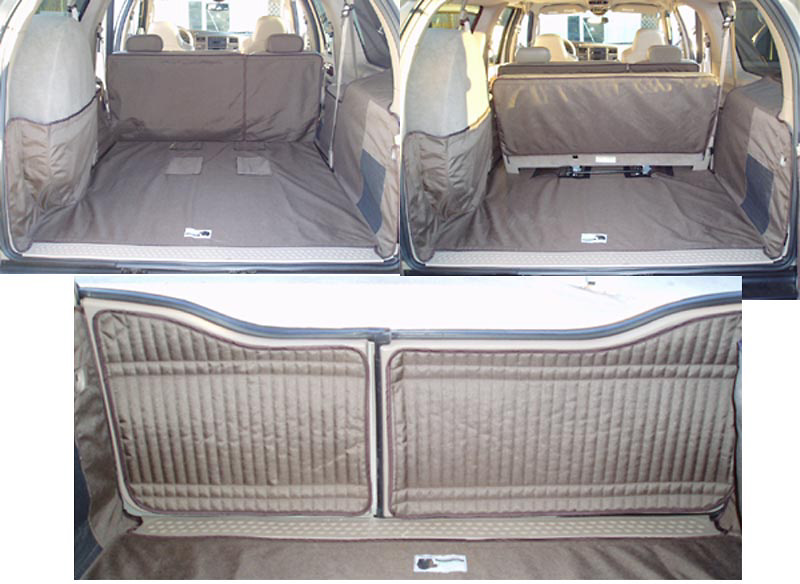 Ford Excursion 01-05 Cargo Liner, models w/ Rear A/C, NO Liftgate, Rear Speaker, 3rd Row, 60/40 2nd Row Bench