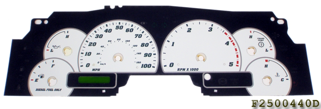 Ford Super Duty 2003-2004 F250 / F350 White / Green Night Performance Dash Gauges