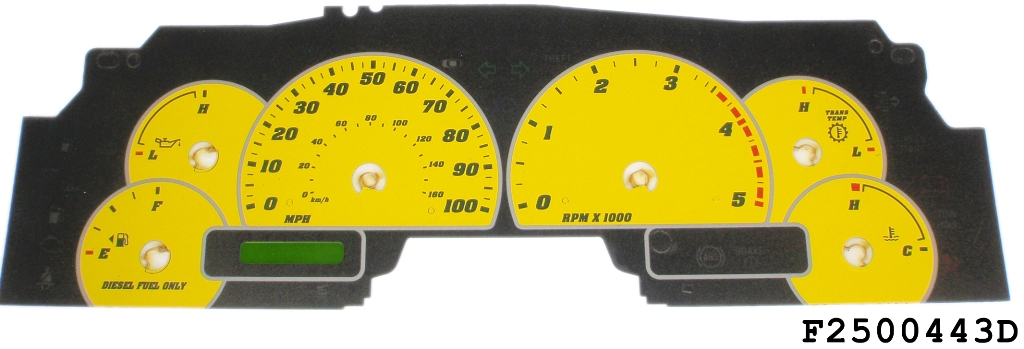 Ford Super Duty 2003-2004 F250 / F350 Yellow / Green Night Performance Dash Gauges
