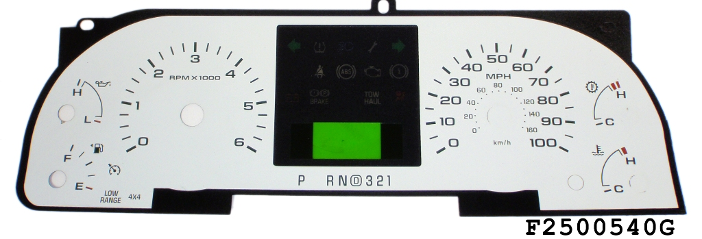 Ford Super Duty 2005-2007 F250 / F350 White / Green Night Performance Dash Gauges