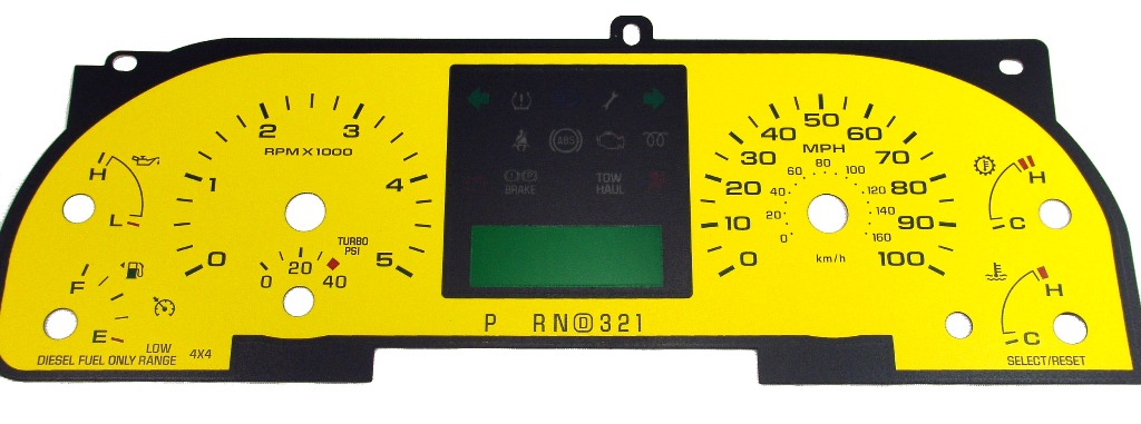 Ford Super Duty 2005-2007 F250 / F350 Yellow  / Green Night Performance Dash Gauges