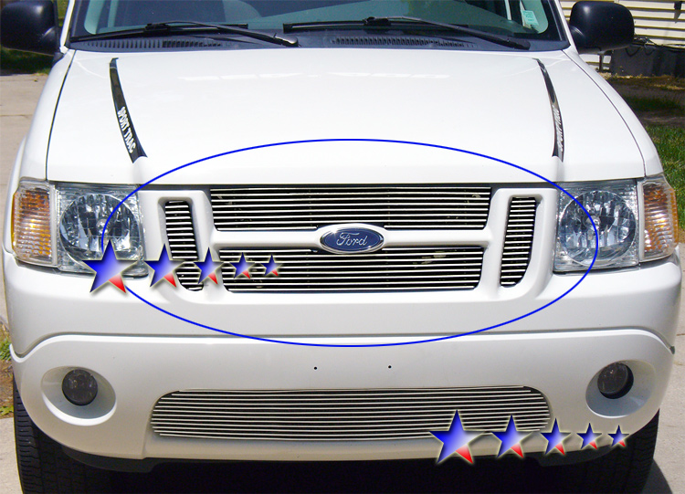 Ford Explorer Sport Trac  2001-2005 Polished Main Upper Stainless Steel Billet Grille