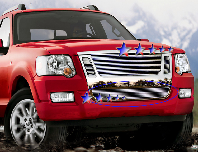 Ford Explorer Sport Trac  2007-2010 Polished Lower Bumper Stainless Steel Billet Grille