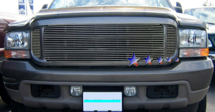 1999-2004 Ford Super Duty F-350 Polished Stainless Steel Billet Grille - Main Upper
